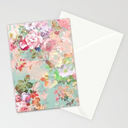 Botanical neo mint pink abstract watercolor floral pattern Stationery Cards