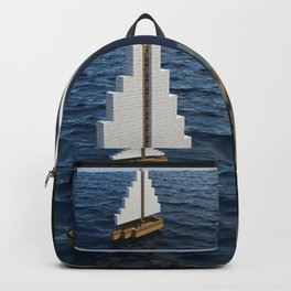 Mine craft boat on the ocean Backpack