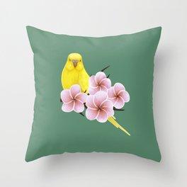 Yellow Budgerigar Throw Pillow