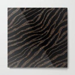 Ripped SpaceTime Stripes - Glitter Brown Metal Print
