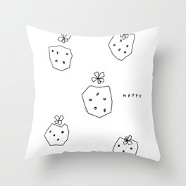 Happy Strawberries - black and white fruit illustration strawberry Throw Pillow