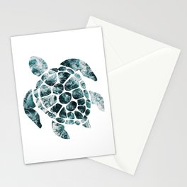 Sea Turtle - Turquoise Ocean Waves Stationery Cards