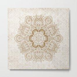 Mandala Temptation in Cream Metal Print