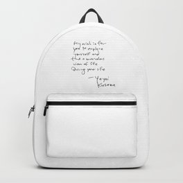 A wonderful note from Kusama (typography) Backpack