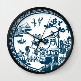Classic Blue Willow Wall Clock