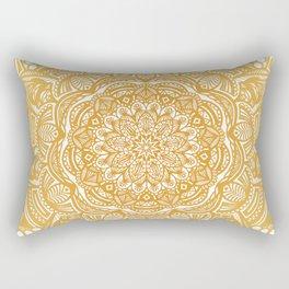Golden Mustard Yellow Orange Ethnic Mandala Detailed Rectangular Pillow