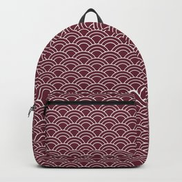 Seigaiha red and white japanese waves Backpack