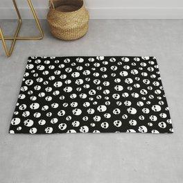White Skulls Goth Alternative Pattern  Rug