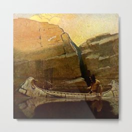 """N C Wyeth Vintage Western Painting """"Birch Bark Canoe"""" Metal Print"""