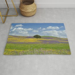 a solitary cork tree on the Alentejo plains Rug