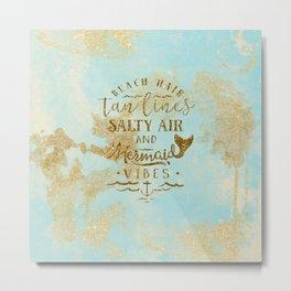 Beach - Mermaid - Mermaid Vibes - Gold glitter lettering on teal glittering background Metal Print