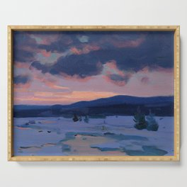Clarence Gagnon - Crépuscule d'hiver - Winter Twilight, Baie St. Paul - Canadian Oil Painting Serving Tray