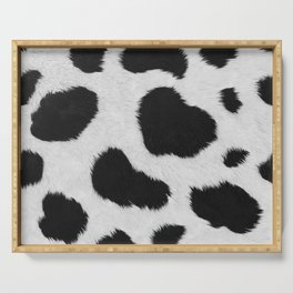 Black and white realistic cow fur texture Serving Tray
