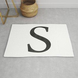Letter S Initial Monogram Black and White Rug