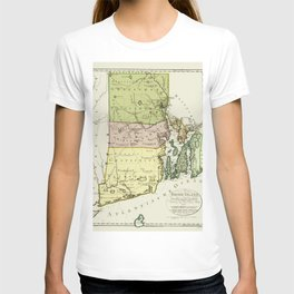 1797 Colonial Era Map of Rhode Island and Narragansett Bay T-shirt