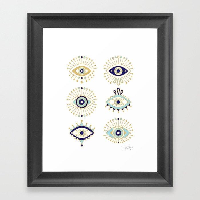 Evil Eye Collection on White Gerahmter Kunstdruck