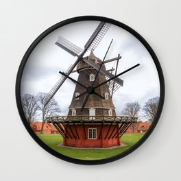 Ancient windmill from the main wooden structure and the base of red color Wall Clock