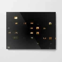 Night landscape facades and windows of houses in the city Metal Print
