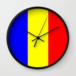 Flag of romania 2 -romania,romanian,balkan,bucharest,danube,romani,romana,bucuresti Wall Clock