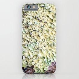 Beautiful messthetics bright green lichen on tree trunk bark macro iPhone Case