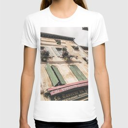French Cafe | Colorful Pizzeria Creperie Restaurant Red Awning Old Building Architecture T-shirt