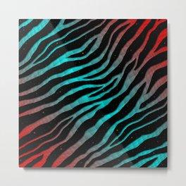 Ripped SpaceTime Stripes - Red/Cyan Metal Print