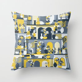 Hanging Gardens (Yellow & Gray) Throw Pillow