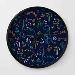 Cute cartoon dinosaur pattern on navy background Wall Clock