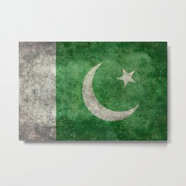 Flag of Pakistan in vintage style Metal Print