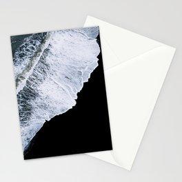 Waves crashing on a black sand beach – minimalist Landscape Photography Stationery Cards