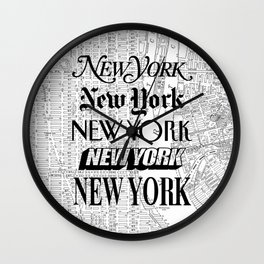 New York City black and white New York poster I love heart NYC Design black-white home wall decor Wall Clock