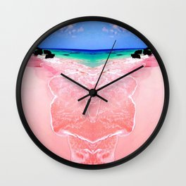 Elafonissi Chania Pink and Turquoise Sea Wall Clock