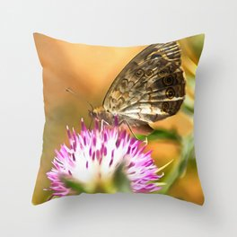 Wall Brown Butterfly On Thistle Throw Pillow
