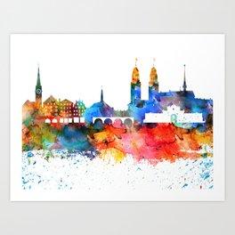 Zurich Colorful Drops Skyline Art Print