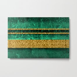 Modern Abstract Organic Texture Emerald Green and Gold Metal Print