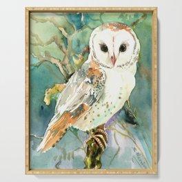Barn Owl, woodland design owl Serving Tray