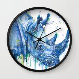 RHINOCEROS watercolor portrait Wall Clock