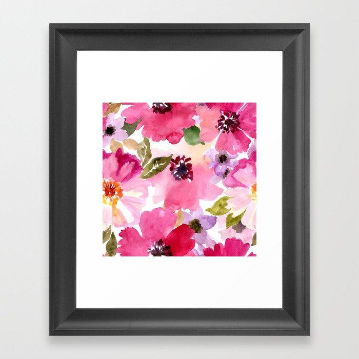 Watercolor Flowers Pink Fuchsia Gerahmter Kunstdruck