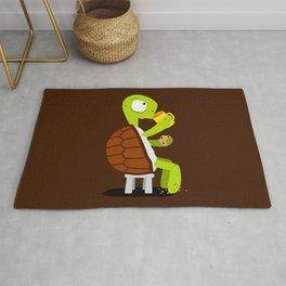 Turtle drinking tea with cookies. Rug