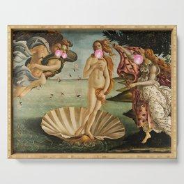 """Botticelli's Bubble Gum Contest The Birth of Venus """"renaissance"""" pop art painting Serving Tray"""
