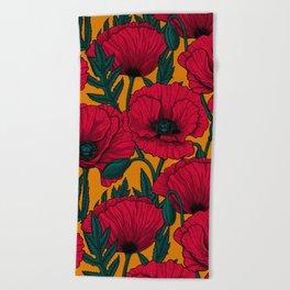 Red poppy garden    Beach Towel