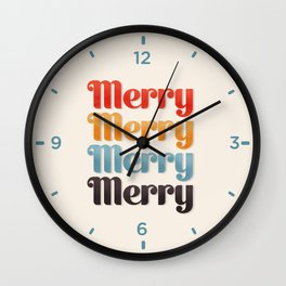 Merry typography Wall Clock
