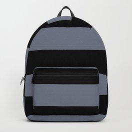 Hazy Blue - Seattle Haze Blue Gray - Twinkle Twinkle Hand Drawn Fat Horizontal Stripes on Black Backpack