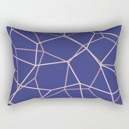 Blue Purple Geometric Architectural Pattern Rectangular Pillow