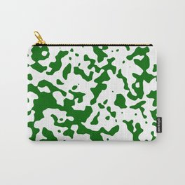 Spots - White and Dark Green Carry-All Pouch