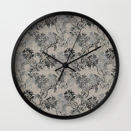 Taupe and Gray Floral Tapestry Repeat Pattern Wall Clock