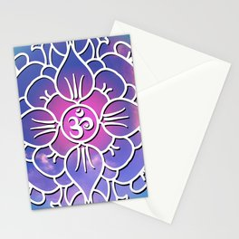 Yoga's Spiritual Om Mantra // Over Pink and Blue Colored Clouds Stationery Cards