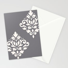Scroll Damask Art I Cream on Grey Stationery Cards