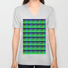 Lime And Deep Blue Checkered Pixel Art Pattern Unisex V-Neck