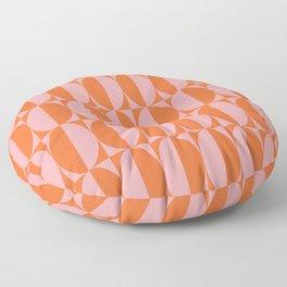 Mid Century Modern Geometric Half Oval Pattern 258 Orange and Pink Floor Pillow
